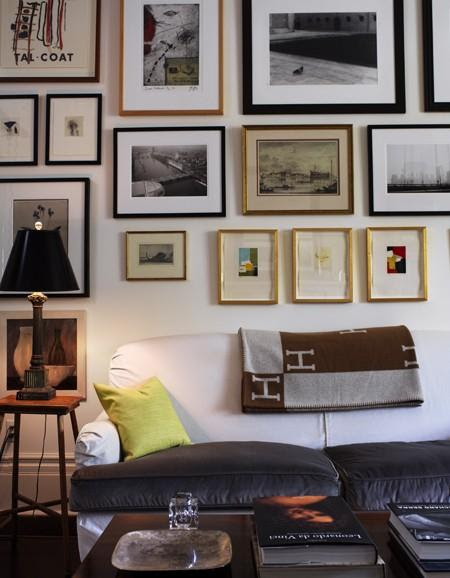 Suzie: Suzanne Dimma   sofa, green pillows, espresso wood coffee table, eclectic art photo ...