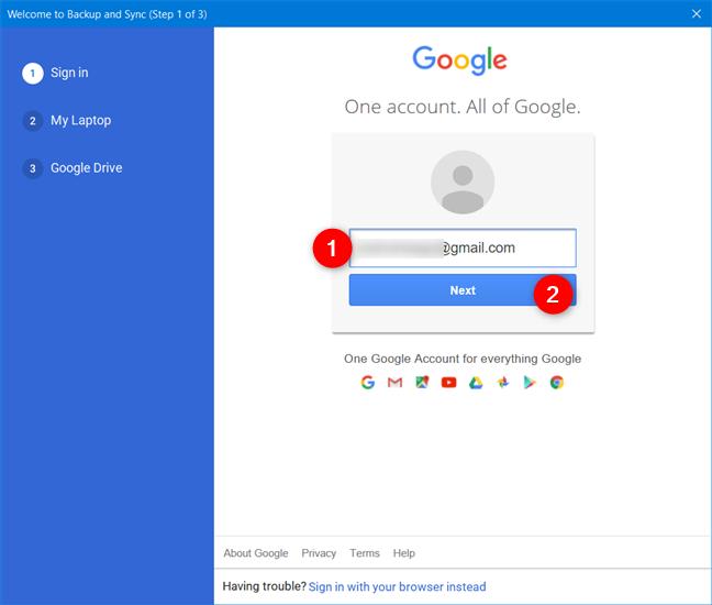 Ingrese la dirección de correo electrónico de su cuenta de Google