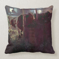 Cows in Stall by Gustav Klimt throwpillow