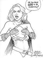 Katchoo as Power Girl, but without the boobies, because SIP was never meant to be that sort of comic with women of impossible bosoms