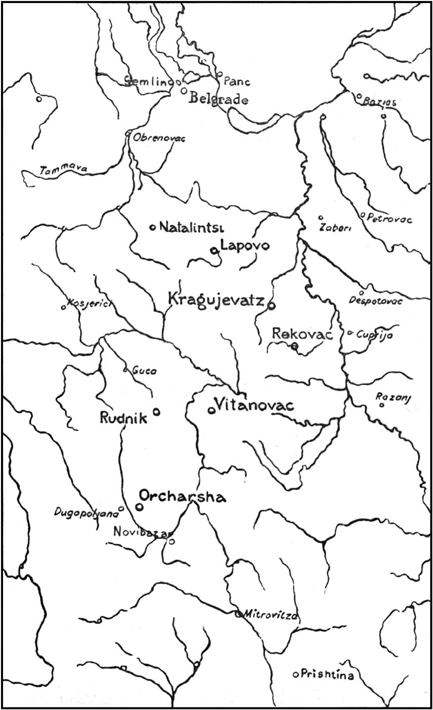 Map showing position of Mrs. Stobart's Field Dispensaries.