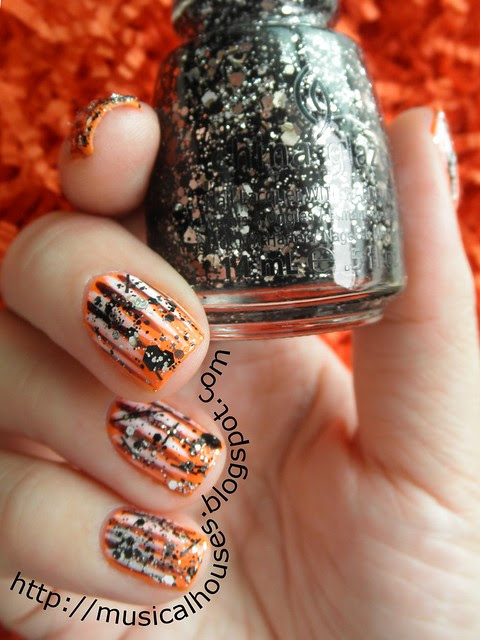 Halloween Nails Neon Orange Glitter Stripes 1