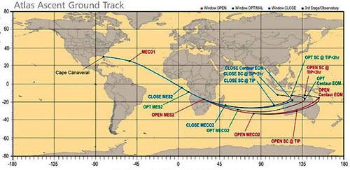 A chart showing the flight path the Atlas V rocket will take over the planet.  New Horizons will begin its escape boost out of Earth orbit above Australia.