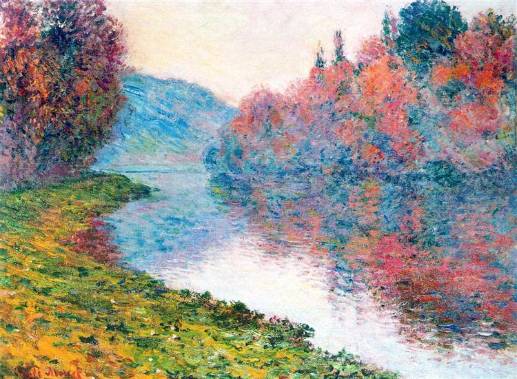 Banks of the Seine at Jenfosse - Clear Weather - Monet Claude