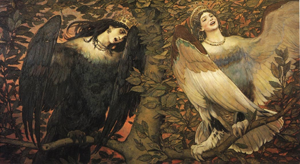 Viktor Vasnetsov's Sirin (left) and Alkonost (right) Birds of Joy and Sorrow, 1896