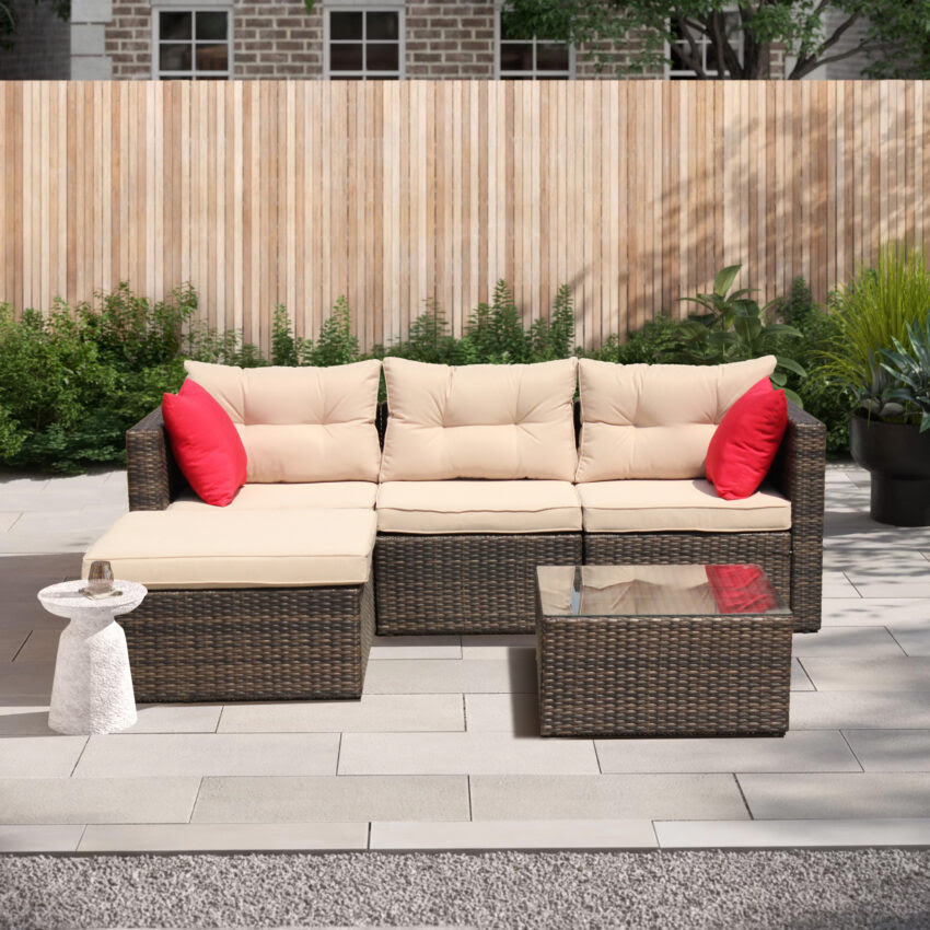 Clearance! 5 Piece Patio Furniture Set with Rattan Wicker