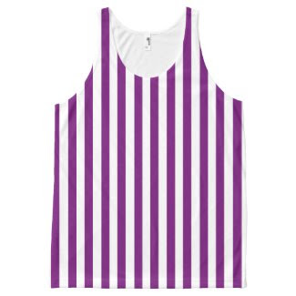 Unisex Tank Top with Grape and White Stripes All-Over Print Tank Top