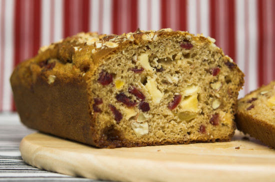 Apple, dried cranberry and almond loaf