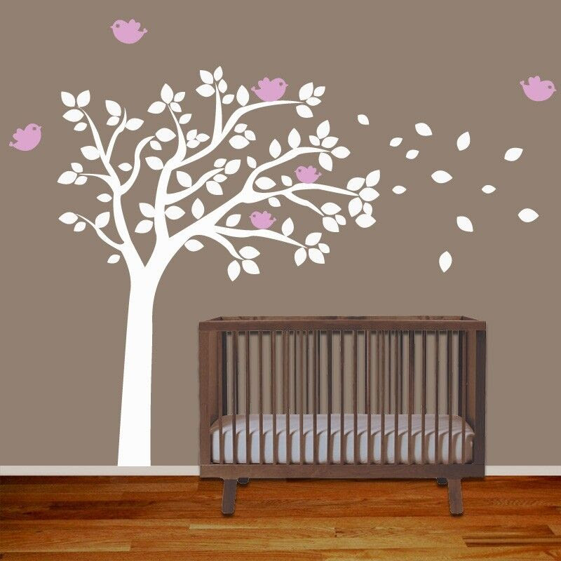 Baby Nursery Wall Decal Tree with Birds  Removable Vinyl Wall Decal Sticker  eBay