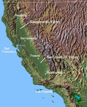 The Central Valley of California, with the San...