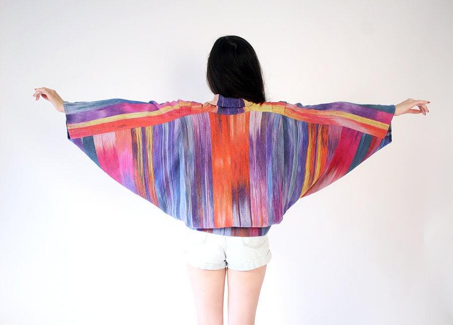 vintage woven cotton ikat jacket