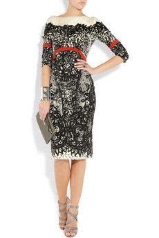 Prabal Gurung Lace-print wool-blend twill dress
