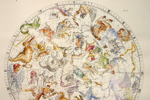 006-Seccion del Planisferio Boreal-Atlas Coelestis-coloreado a mano edicon de 1753 Londres-John Flamsteed