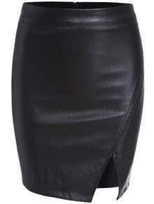 Black Split Bodycon PU Skirt
