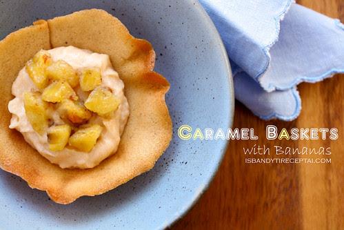Caramel baskets with bananas