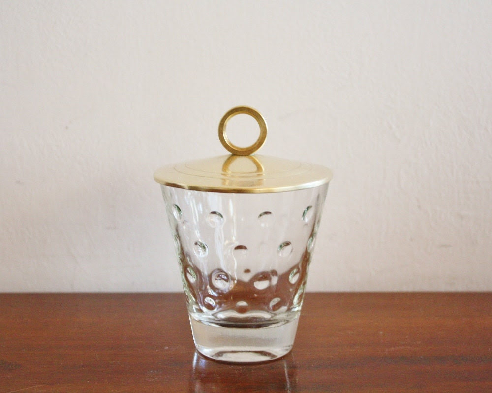 Vintage glass candy dish with brass lid