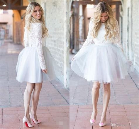 Discount Casual Short Wedding Dresses Long Sleeve Lace