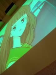 Anime playing at Blue C Sushi