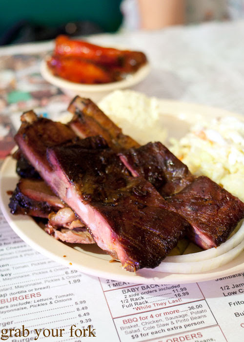 bbq ribs brisket and smoked wings at green mesquite bbq austin texas