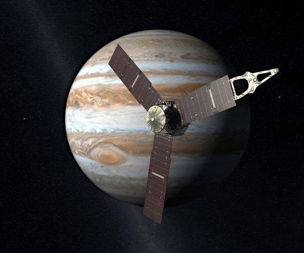 An artist's concept of NASA's Juno spacecraft orbiting Jupiter.
