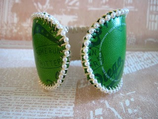 Green Leather Baseball Cuff! 5
