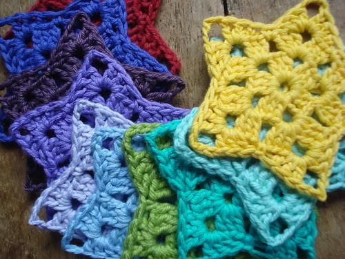 crochet star rainbow