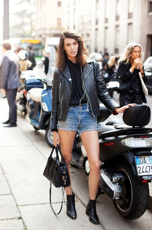 Le Fashion Blog Model Off Duty Ruby Aldridge Black Leather Moto Jacket Cut Off Jean Shorts Black Button Down Tuxedo Shirt Satchel Booties Boots Milan Fashion Week Street Style Via Stockholm Streetstyle photo Le-Fashion-Blog-Model-Off-Duty-Ruby-Aldridge-Leather-Moto-Jacket-Cut-Off-Shorts-Via-Stockholm-Streetstyle.jpeg