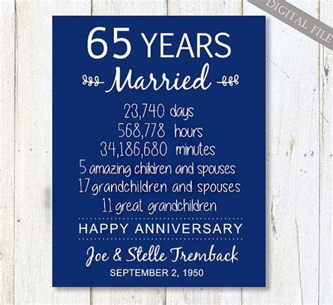 65th wedding anniversary Gift for Parents   65 years of