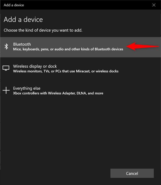 Elija Bluetooth en el asistente Agregar un dispositivo