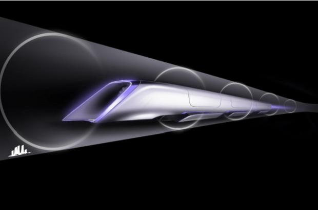 Une capsule Hyperloop dans le tube
