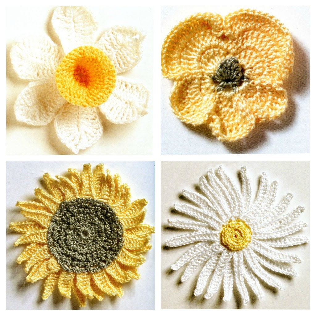 Fresh Flowers Crochet PATTERNS Daisy, Pansy, Daffodil and Sunflower