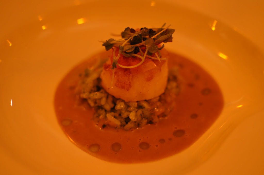 scallop and pesto risotto with lobster bisque