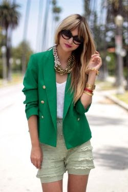 Emerald Blazer Outfit with Gold Accessories