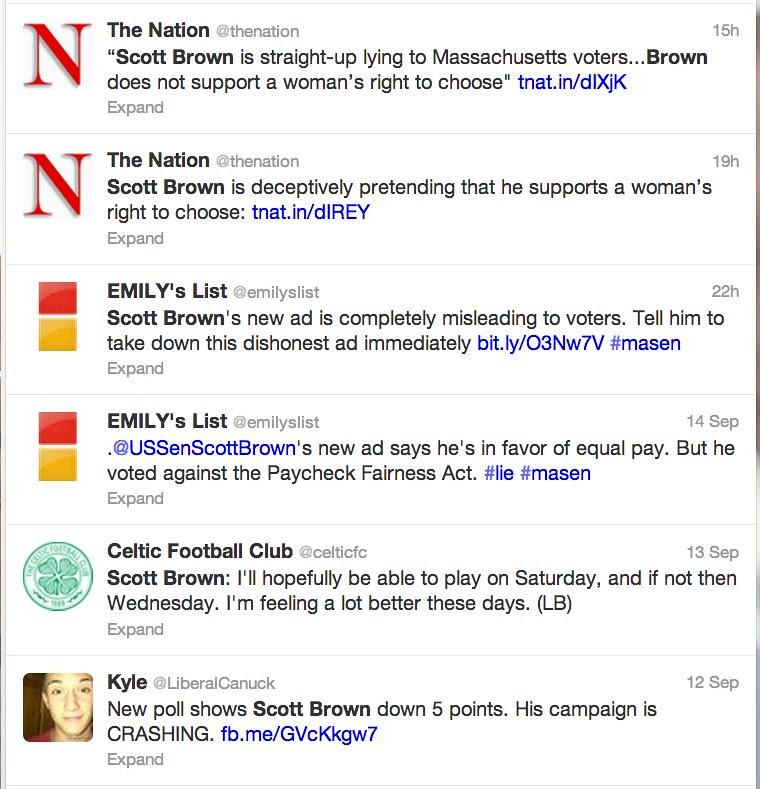Scott Brown Search on Twitter