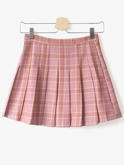 Pleated Tartan Mini Skirt