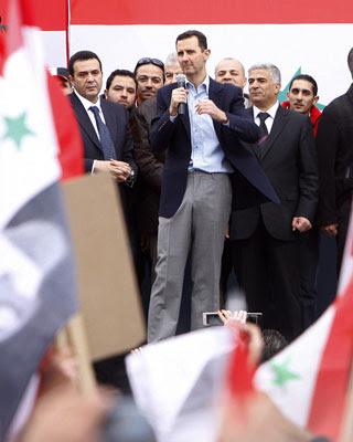 Al Asad, durante su discurso callejero.-