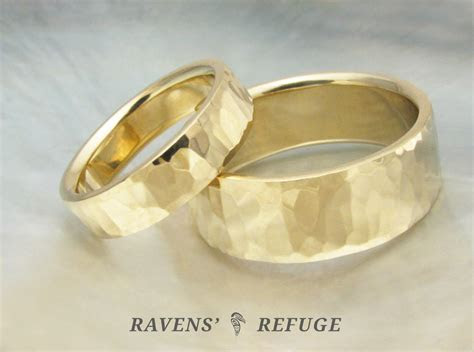 handmade wedding bands ? hammered gold rings   Ravens' Refuge