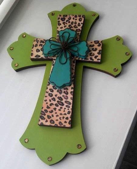 Cheetah Print Decorative Wall Cross by MadeWithLoveByLori on Etsy, $30.00