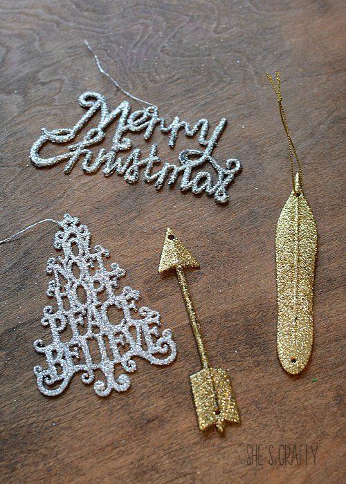 glittery ornament gift embellishments