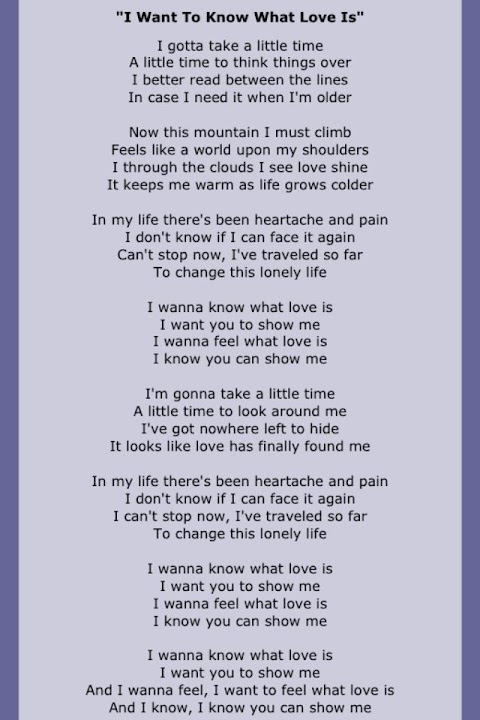 I Wanna Know What Love Is Lyrics By Foreigner