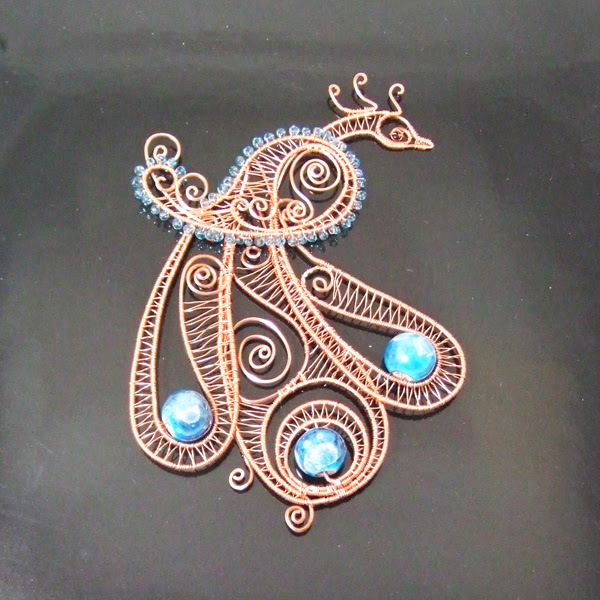 Wire Wrap Peacock Ornament 15000 Hanaminicom Dollhouse