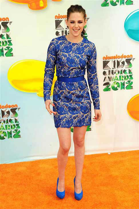Kristen Stewart appears at the 25th annual Nickelodeon Kids Choice Awards in Los Angeles, California on March 31, 2012.