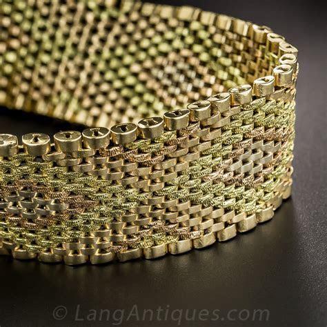 18K Tri Color Gold Mesh Bracelet