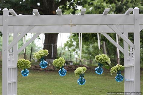 wedding pergola decorated with hydrangeas   South Jersey