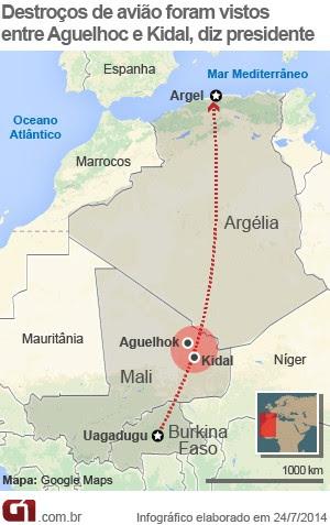 Mapa Avião áfrica Argélia V2 (Foto: Editoria de Arte/G1)