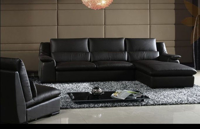 Contemporary Style Top Grain Leather Sectional - contemporary