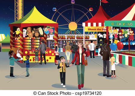 vector illustration  summer night outdoor fair