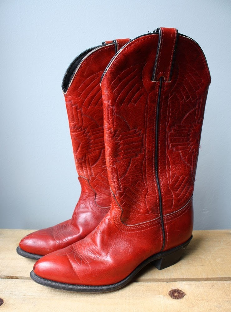 Vintage Ruby Red Cowgirl Boots