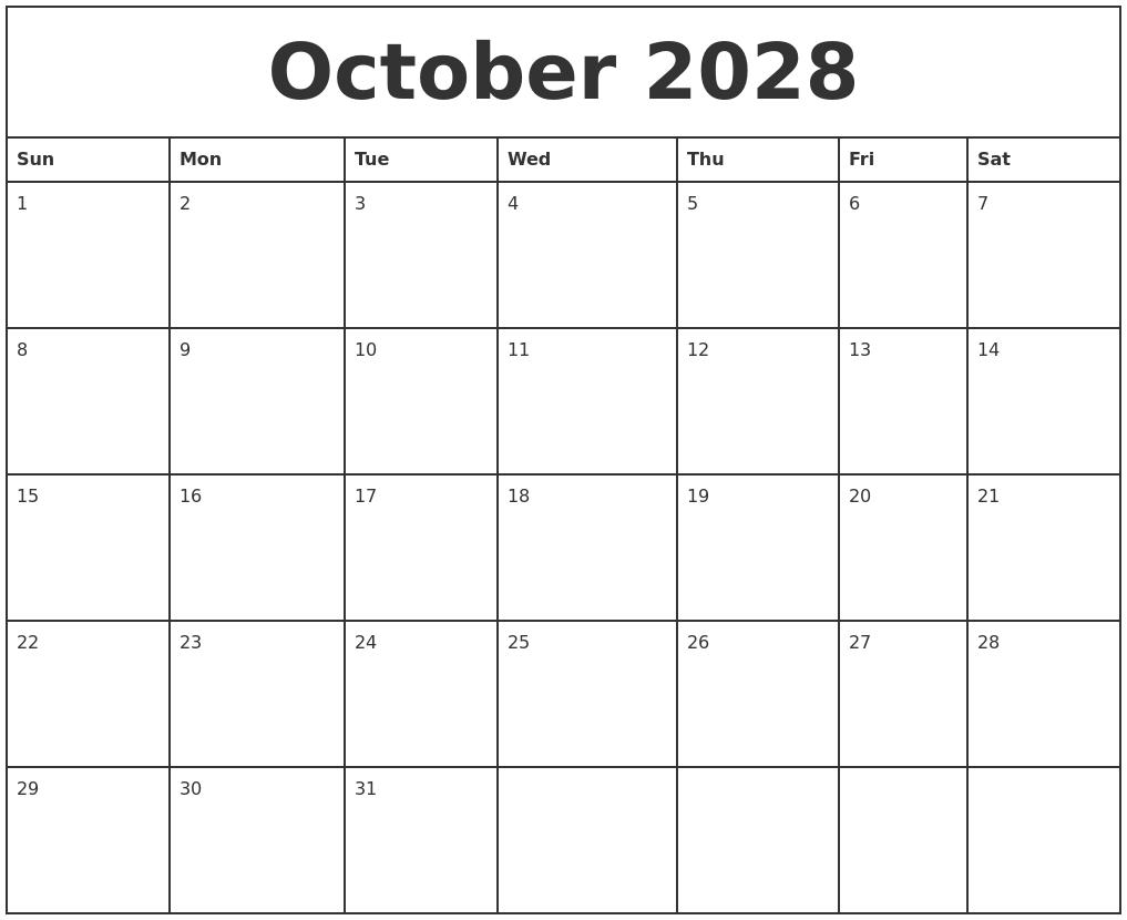 october 2028 printable monthly calendar