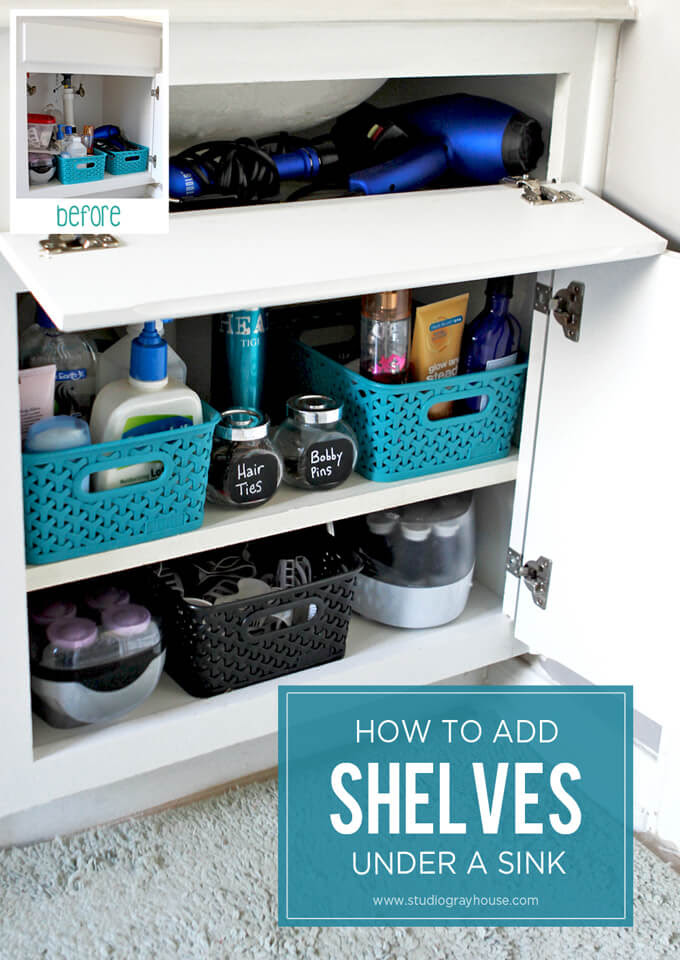 Adding Shelves in Bathroom Cabinets | Gray House Studio